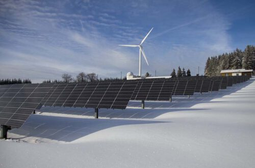 Solaranlage Und Windrad In Einer Schneelandschaft. Symbolbild Für Nachhaltiges Investieren.