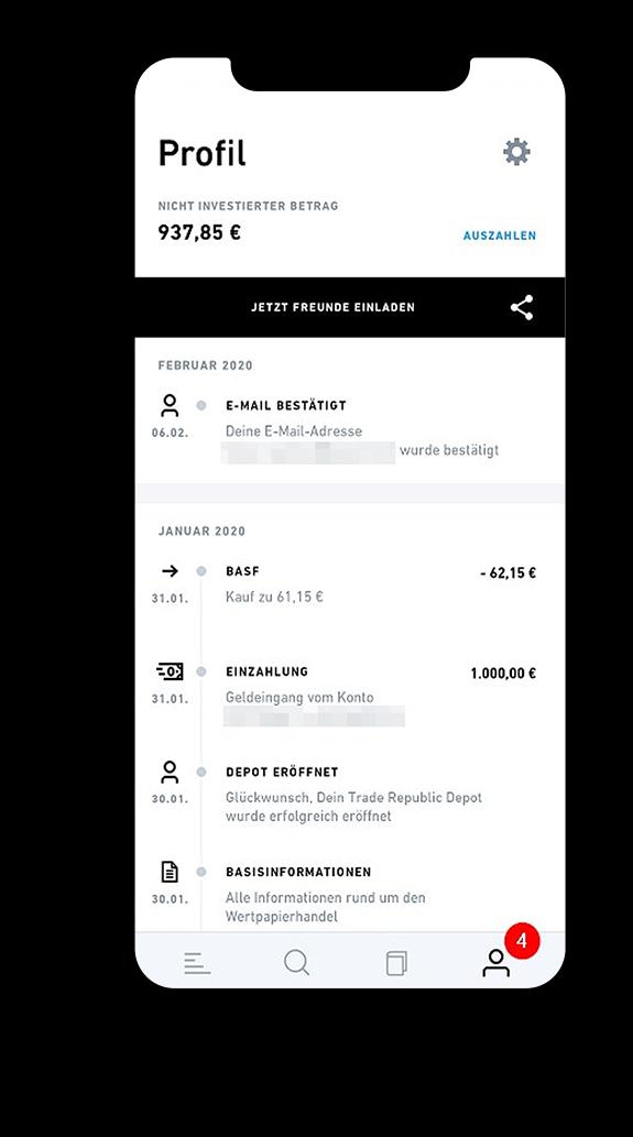 Profilansicht Der App
