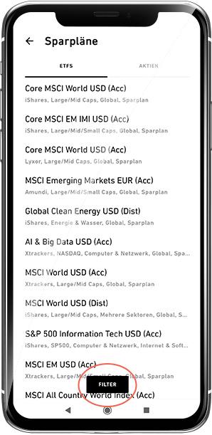ETF-Übersicht in der Trade Republic App