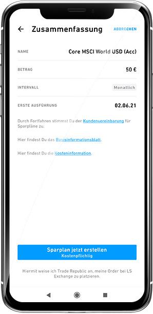 Zusammenfassung des ETF Sparplans in der Trade Republic App