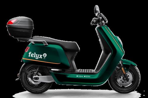 Grüner Roller Des E-Scooter-Sharing-Dienstes Felyx